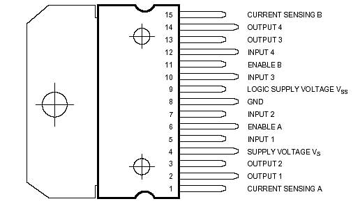 شکل 8 : اطلاعات پایه ها در یک درایور L298
