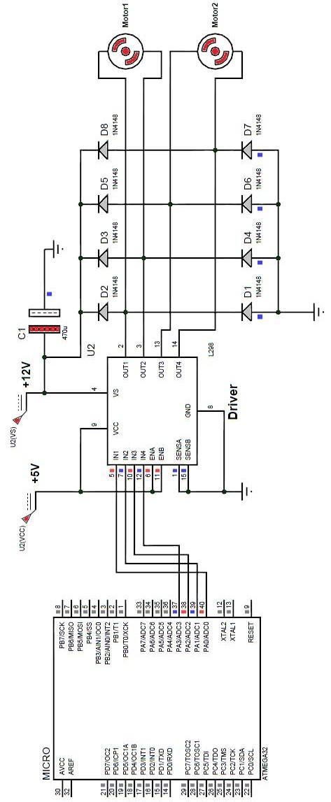 شکل 9: نحوهی راه اندازی یک موتور با استفاده از درایور L298