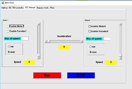 شکل ۳- کنترل دستی موتور در صفحه سوم GUI