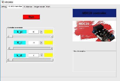 دکمه Run و تعدادی slider در نرم افزار GUI
