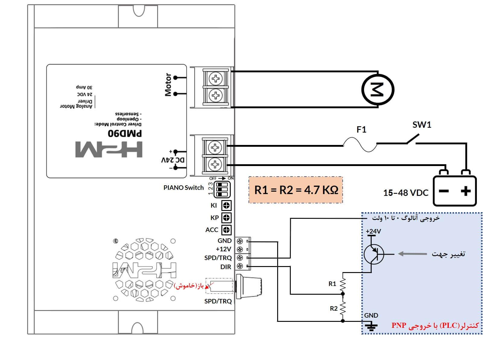 راه اندازی درایور PMD90 با خروجی PNPN با ولتاژ آنالوگ 0 تا 10 ولت - شکل ۱۱) راه اندازی درایور با کنترلر (PLC) با خروجی PNP