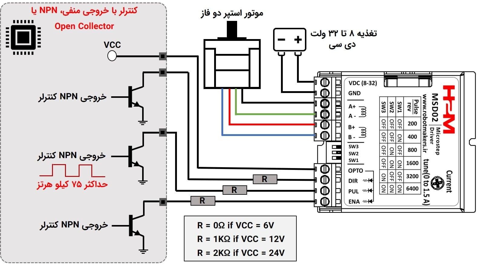 شکل ۵: راه اندازی درایور با کنترلر با خروجی منفی، NPN یا Open Collector