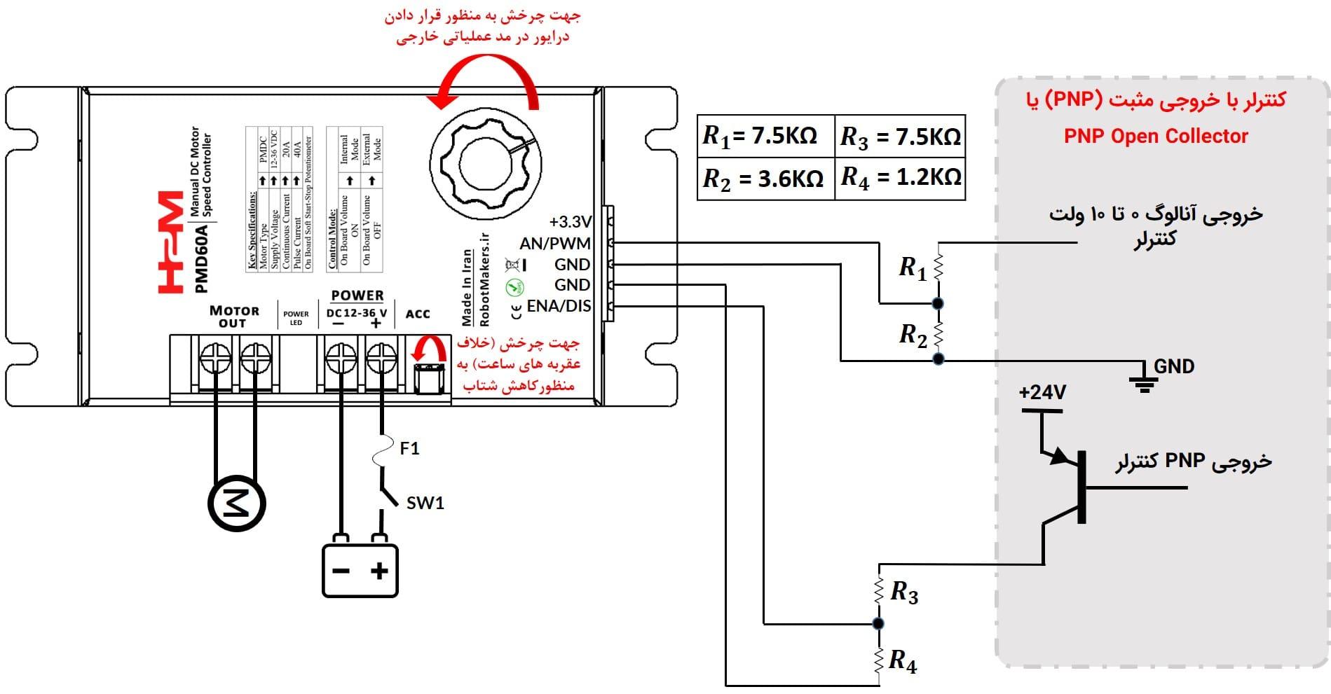 شکل ۹: کنترل درایور از طریق ولتاژ آنالوگ به وسیله PLC با خروجی PNP