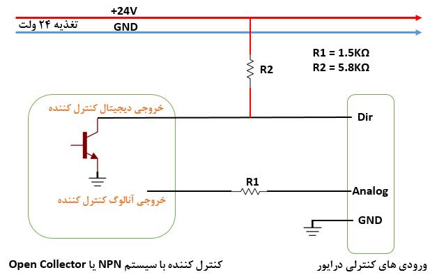 شکل ۲) اتصال درایور به کنترلکننده خارجی در حالت مد کنترلی آنالوگ (منطق کنترل کننده ۲۴ ولت و خروجی آنالوگ ۰ تا ۱۰ ولت) - ربات سازان