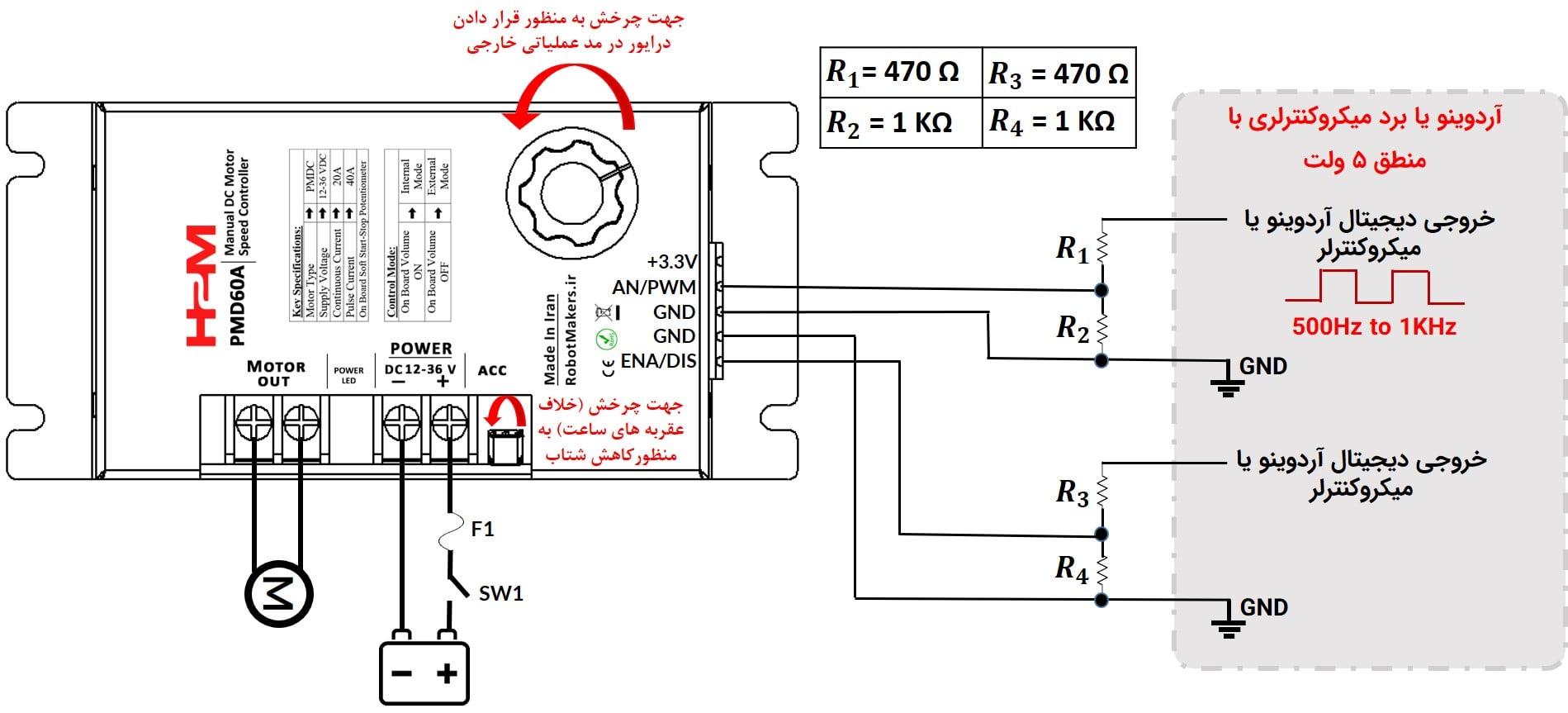 شکل ۱۱: کنترل درایور از طریق پالس PWM به وسیله آردوینو یا میکروکنترلر با منطق ۵ ولت