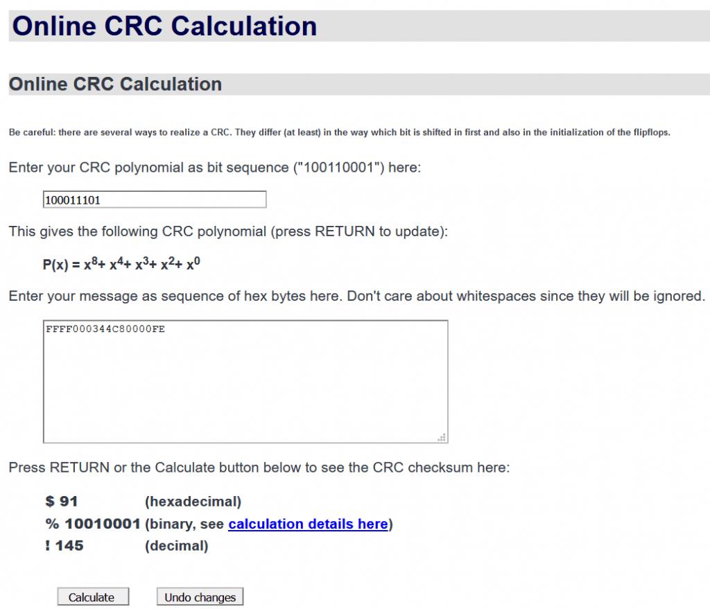 شکل ۹-۱۵: محاسبه بایت CRC توسط مبدل آنلاین