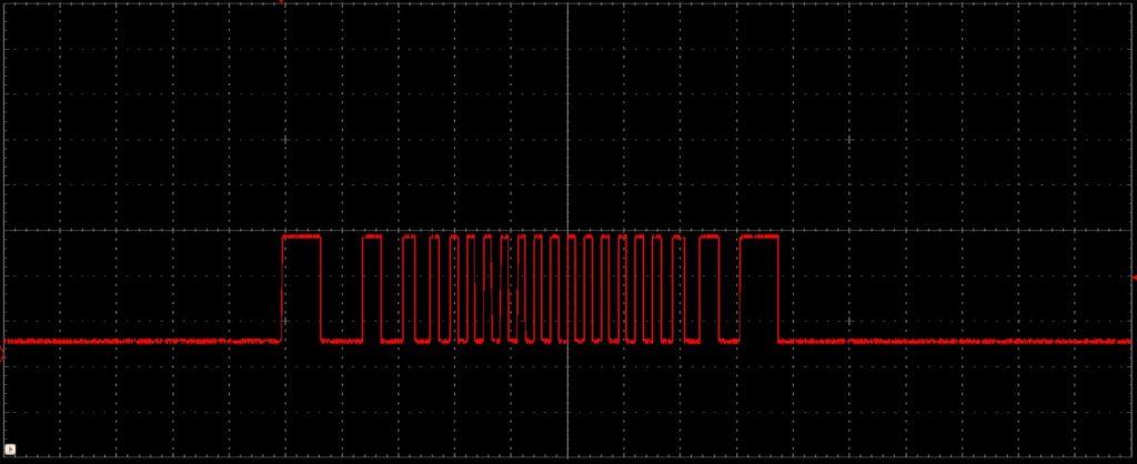 شکل ۳: شکل موج سیگنال تولید شده به کمک پروفیل سرعت ذوزنقهای