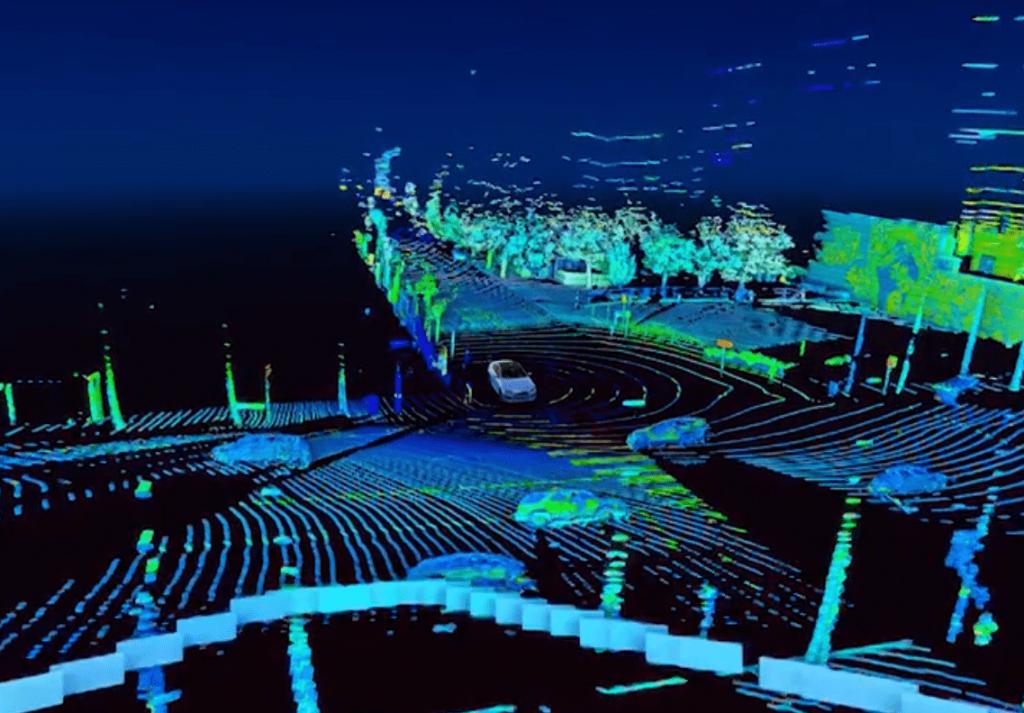 شکل ۲۹: ابر نقاط ساخته شده توسط سنسور لیدار سه بعدی VLP-16 ساخت شرکت Velodyne